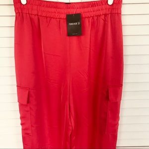 Forever 21 Fiery Red Satin Cargo Joggers Size M